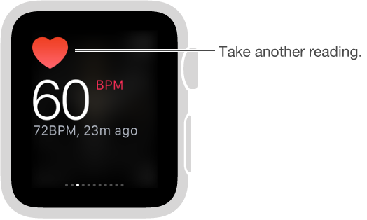 Swipe to the Heartbeat glance and tap the heart icon to get your heart rate.