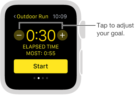 You can set your time, distance, or calorie goals by tapping the plus and minus buttons.
