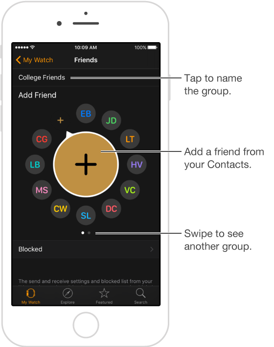 The Friends screen on the Apple Watch app, where you'll see friends populated from the multitasking screen and where you can tap Add Friend to add someone new.