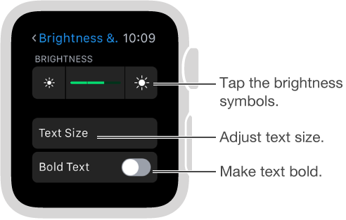 Brightness settings screen on Apple Watch with callout to brightness symbols at either end of slider: Tap the brightness symbols; callout to Text Size: Adjust text size; Callout to Bold Text: Make text bold.