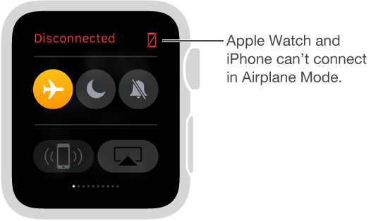 The Settings glance where you can see the connection status of your watch and iPhone and set Airplane Mode, Do Not Disturb, and Mute. You can also ping your iPhone. Airplane Mode is selected and the status is Disconnected.