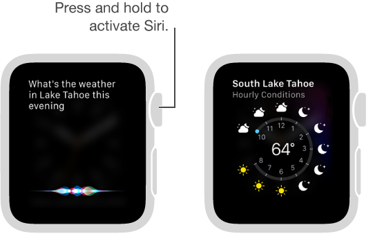 Press and hold the Digital Crown to ask Siri a question. Screens show asking Siri about weather in Lake Tahoe and Siri displaying the weather in Lake Tahoe today.