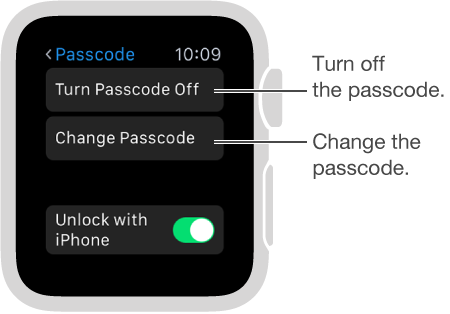 Passcode settings screen on Apple Watch. Pointer to Disable Passcode and Change Passcode.