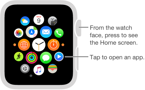 Home screen on Apple Watch where you tap an app to open it. Press the Digital Crown from watch face to open Home screen.