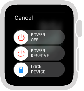 The slider screen with Cancel button in top left and 3 sliders: Power off at top, Power Reserve in middle, and Lock Device at bottom.