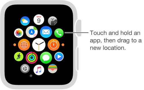 Apple Watch Home Screen with apps jiggling and flattened to the same size. You can drag apps to new locations.