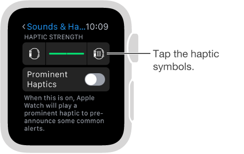 Sounds & Haptics settings screen where you can scroll down to Ringer and Alert Haptics, then tap the haptic symbols to increase or decrease the intensity of taps.