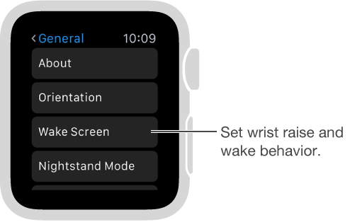 The General Settings screen on Apple Watch with pointer to Activate on Wrist Raise option. Tap to set it.
