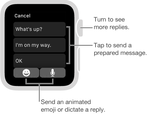 "Messages screen showing Cancel button at top, three preset replies (""What's up?"", ""I'm on my way."", and ""OK.""). Two buttons at bottom: Emoji and Microphone."