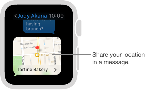 Messages screen showing a map of the sender's location. Firmly press display to send your location in a conversation.
