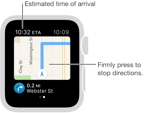 While you're following directions, your estimated time of arrival is in the upper left. Press the screen at any time to cancel the directions.