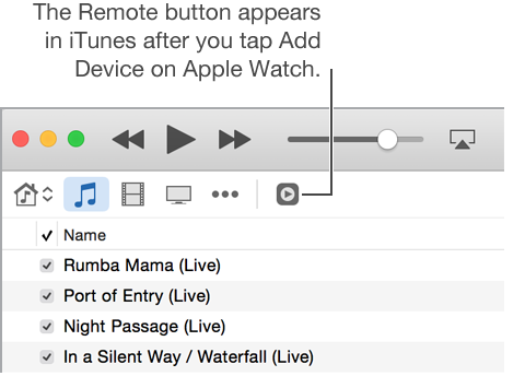 The Remote button in iTunes appears while you're trying to add the library to Apple Watch.