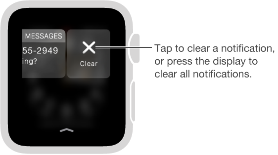 The Clear button appears to the right of a notification when you swipe the notification to the left.