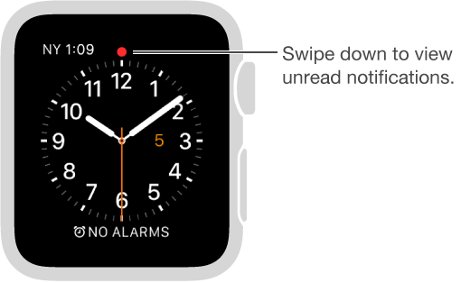 A red dot appears above the twelve o'clock position on your watch face when you have a notification to attend to. Swipe down to view.