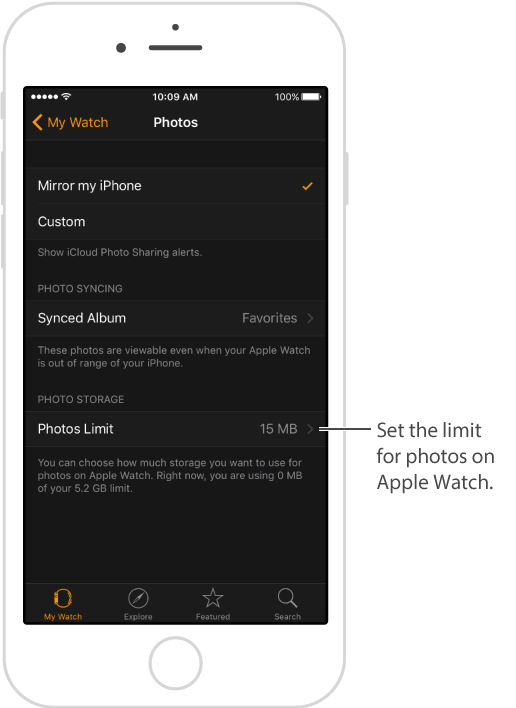 Photos screen in Apple Watch app on iPhone, where you can choose which album to sync and set a limit for Photo Storage on Apple Watch.