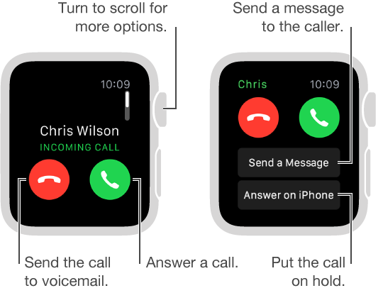 When you receive an incoming call, tap the green button to answer or tap the red button to send the call to voicemail.