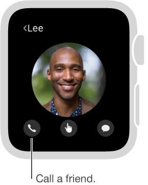Screen showing a chosen friend's face with the phone, Digital Touch, and Messages buttons beneath. Tap Phone to call this friend.