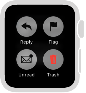 Press the display when you're reading a message on Apple Watch to mark it as Unread, Flag it, or send it to the trash.