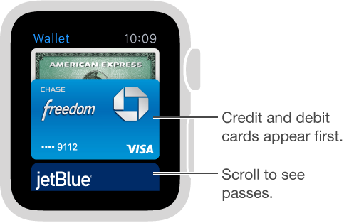 The Passbook screen on Apple Watch shows payment cards first, with passes below.