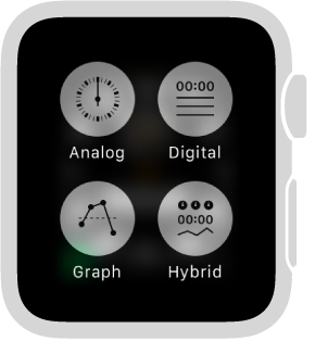 While using Apple Watch as a stopwatch, press the display to change the format. Choose Analog, Digital, Graph, or Hybrid.