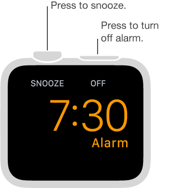 In nightstand mode, press the Digital Crown to snooze the alarm or press the side button to turn the alarm off.