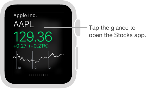 Tap the Stocks glance to open the Stock app.