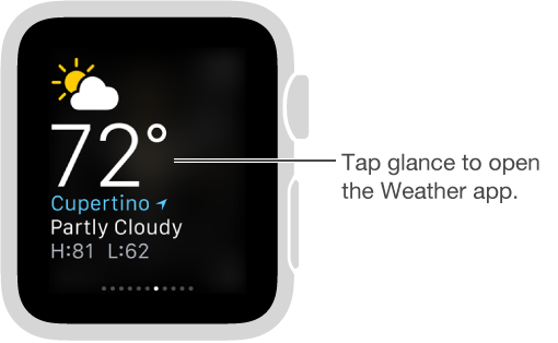The weather glance open, with a callout to tap the glance to open the Weather app.