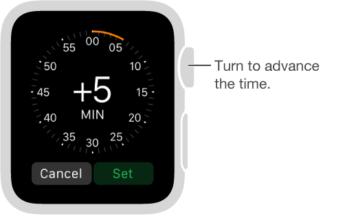 In the Time settings app, turn the Digital Crown to increase the time you want displayed on your watch face.