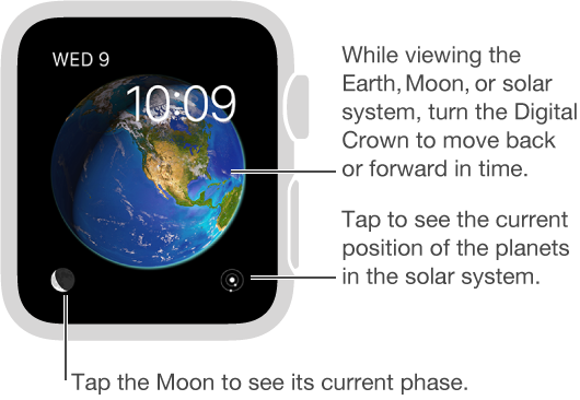 The Astronomy watch face, which displays the day, date, and current time, which you can't change. You can view the Earth, Moon, or solar system on the watch face and tap the screen to see positions of the planets, phases of the moon, and more.