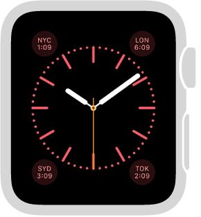 The Color watch face, where you can adjust the color of the watch face and add these features to it: calendar/date, moon phase, sunrise/sunset, weather, activity, alarm, timer, stopwatch, battery percentage, world clock, and your monogram