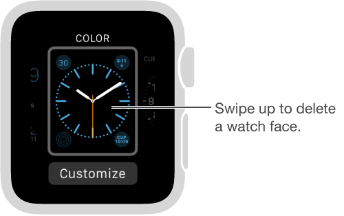Watch face showing. Swipe up to delete watch face.