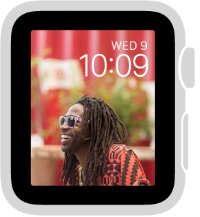 The Photo Album watch face shows a different photo from your synced photo album each time you wake Apple Watch.