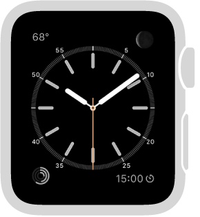 The Simple watch face, where you can adjust the color of the sweep hand and adjust the numbering and detail of the dial. You can also add these features to it: moon phase, sunrise/sunset, weather, activity, alarm, timer, stopwatch, battery percentage, world clock, and date.