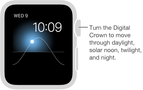 The Solar watch face displays the day, date, and current time, which can't be modified. Turn the Digital Crown to move the sun in the sky to dusk, dawn, zenith, sunset, and darkness.