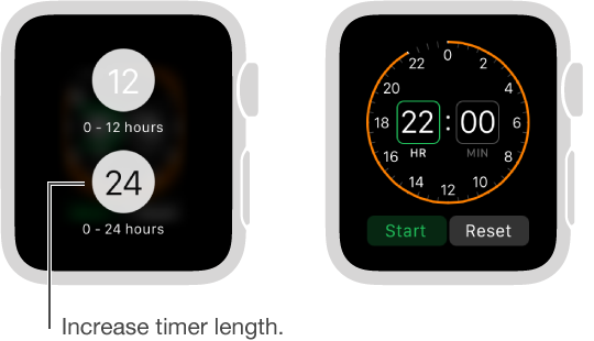 In the Timer settings, you can choose between 12 and 24 hour display and set a timer for a longer period of time.