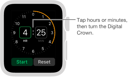 Tap hours or minutes and turn the Digital Crown to set a timer.