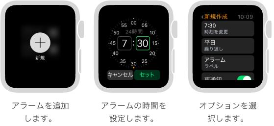 アラームの追加方法を説明する Apple Watch の 5 つの画面: 画面を押してアラームを追加し、Digital Crown を回して時間を設定し、設定でオプションを設定し、繰り返しオプションを設定し、「スヌーズ」をオンにしています。