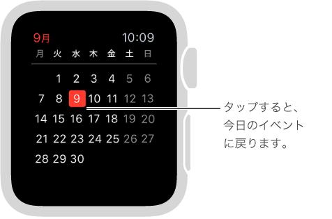 月表示には、その月のカレンダー全体が表示され、今日の日付が赤で強調表示されます。 どこかをタップすると、今日のイベントのリストに戻ります。