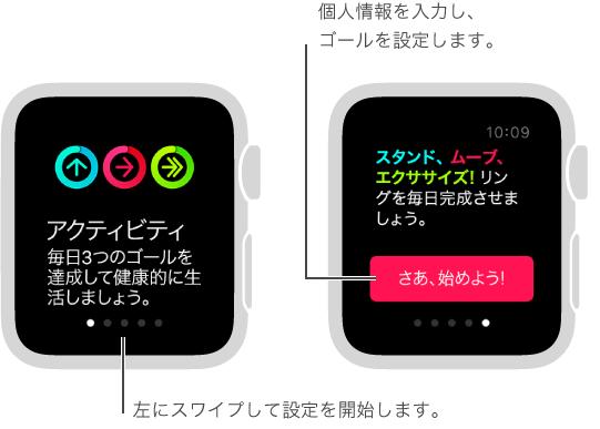 「アクティビティ」App では、スタンド、ムーブ、エクササイズの 3 種類のフィットネスのゴールを設定できます。