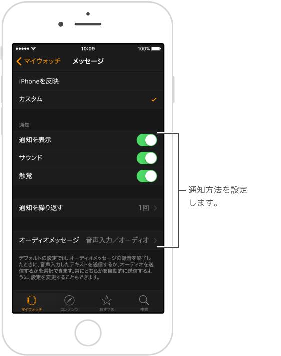 iPhone の「AppleWatch」App の「メッセージ」画面。 通知をカスタマイズできます。通知を表示したり、サウンドをオンにしたり、触覚をオンにしたり、フィルタをかけて選択的に通知を表示したりできます。