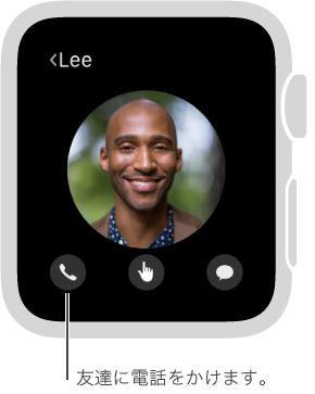 選択した友達の顔が表示されている画面。顔の下に電話、Digital Touch、およびメッセージの各ボタンが表示されています。 電話をタップすると、この友達に電話をかけられます。