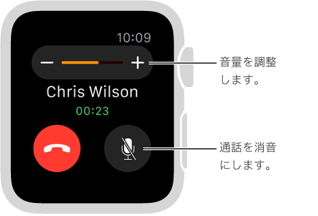 着信が表示されている画面。音量を調整したり、通話を消音にしたりできます。