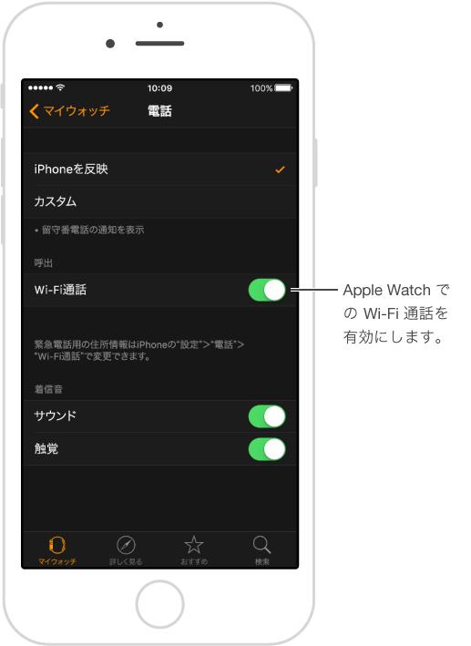 「電話」設定画面で「Wi-Fi 通話」スイッチがオンになっています。