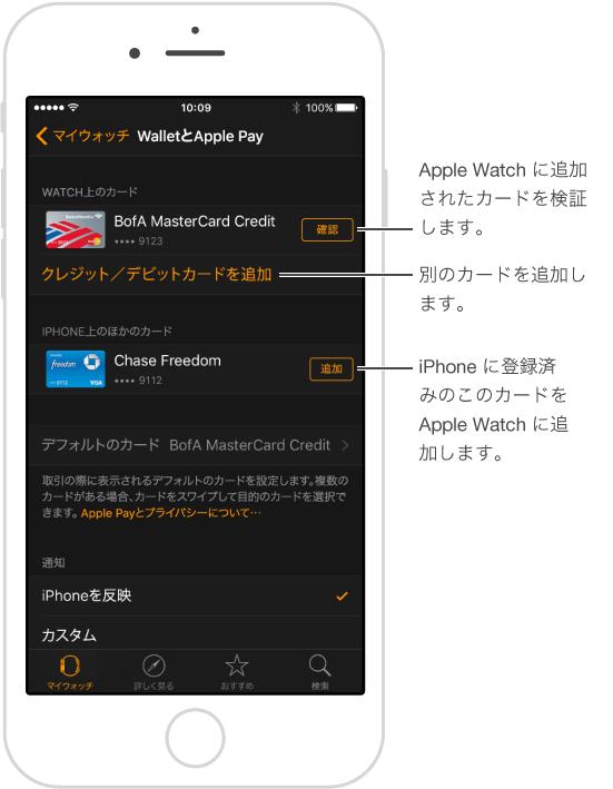 「Apple Watch」App の「Wallet と Apple Pay」設定画面。 「確認」という言葉にポインタが付いています。これをタップして、支払い用カードの確認コードを入力します。 「クレジット/デビットカードを追加」をタップすると、新しい支払い用カードを追加できます。 すでに iPhone の Wallet にカードがある場合は、カードの横にある「追加」をタップして Apple Watch に追加できます。