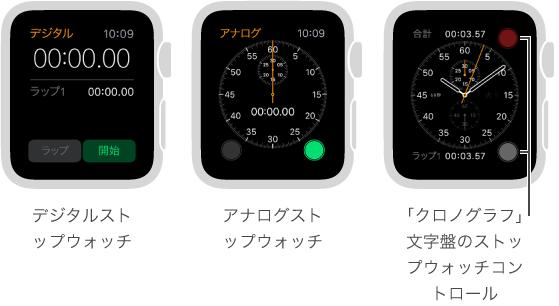 ストップウォッチの使う方法は 3 つあります。App でデジタルストップウォッチを使う方法、App でアナログストップウォッチを使う方法、そして「クロノグラフ」の文字盤にストップウォッチコントロールを追加する方法です。
