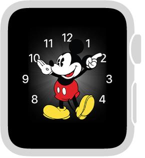 「ミッキーマウス」の文字盤。次の機能を追加できます: 日付、カレンダー、月の位相、日の出/日の入、天気、アクティビティの概要、アラーム、タイマー、ストップウォッチ、バッテリー残量、世界時計(以上のすべての機能の詳細表示)、株価