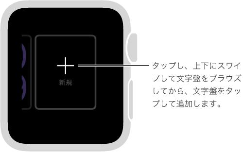 新規の文字盤の画面。 文字盤をタップしてから、上または下にスワイプしてデザインをブラウズします。 デザインをタップすると、そのデザインが追加されます。