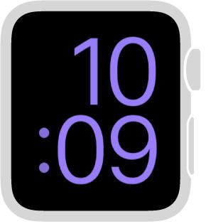 「特大」の文字盤では、画面いっぱいに時刻がデジタル形式で表示されます。 カラーを変更できます。
