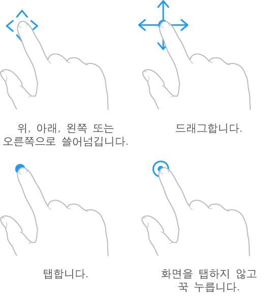 네 손가락 동작 그림입니다. 왼쪽 상단에 있는 첫 번째 그림은 위, 아래 및 옆으로 쓸어넘기는 손가락입니다(설명 풍선 참조). 위, 아래, 왼쪽 또는 오른쪽으로 쓸어 넘깁니다. 오른쪽 상단에 있는 두 번째 그림은 드래그를 보여줍니다. 모든 방향으로 움직일 수 있도록 길게 누르는 손가락입니다(설명 풍선 참조). 왼쪽 하단에 있는 그림은 탭을 보여주는 터치하는 손가락입니다(설명 풍선 참조). 오른쪽 하단에 있는 그림은 화면을 탭하는 것이 아니라 꾹 누르는 강화된 터치를 보여줍니다(설명 풍선 참조)