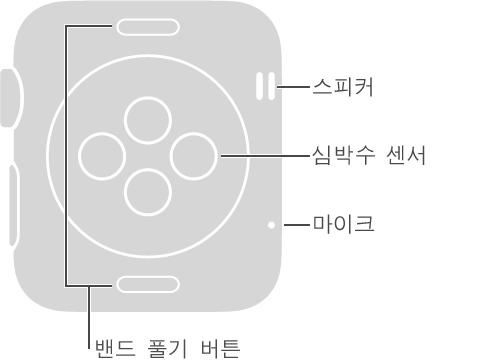 Digital Crown의 반대 측면에 대한 설명 풍선이 있는 Apple Watch의 뒷면입니다. 스피커, 마이크. 뒷면 상단 및 하단의 버튼에 대한 설명 풍선입니다. 밴드 풀기 버튼: 밴드를 밀어내서 풀려면 누르십시오. 뒷면 중앙에 디스크 모양으로 올라온 부분에 대한 설명 풍선입니다. 심박수 센서 및 충전 패드.